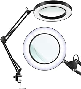 Desk mounted magnifying glass