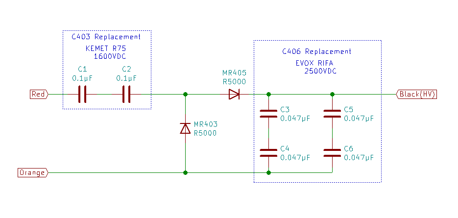 D43 high voltage supply replacement schematic